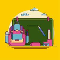 Retour à l'école ligne plate Vector Illustration sur fond isolé.