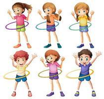 Enfants jouant hulahoop vecteur