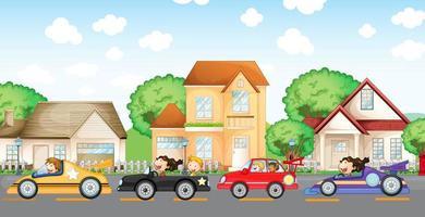 Course de voitures pour adolescents devant le quartier vecteur
