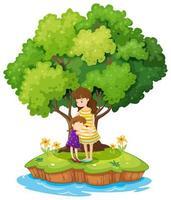 Une île avec une mère et une fille vecteur