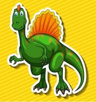 Dinosaure vert sur fond jaune
