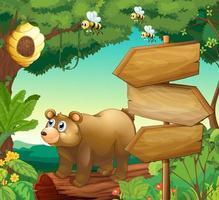 Scène avec ours et panneaux en bois vecteur