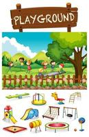 Scène de terrain de jeu avec des enfants et des jouets vecteur