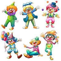 Un groupe de clowns vecteur