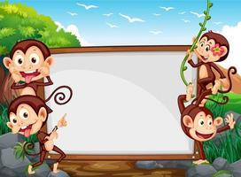 Conception du cadre avec quatre singes sur le terrain