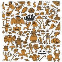 Ensemble de dessin animé mignon d'halloween vecteur