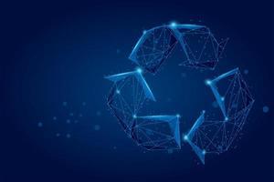Ligne de purée abstraite et signe de recyclage de point vecteur