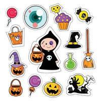 Ensemble de patchs autocollant icône Halloween vecteur