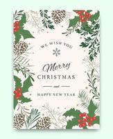 Modèle de carte de voeux joyeux Noël vecteur