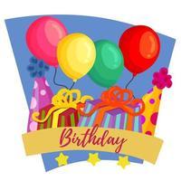 fête d'anniversaire avec boîte à ruban vecteur