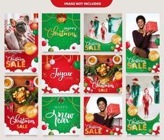 Modèle de message pour les médias sociaux de Noël vecteur