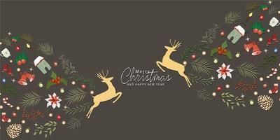 Modèle sans couture de joyeux Noël cartes de voeux