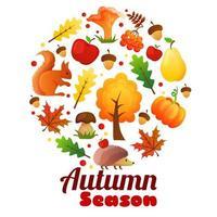 saison d'automne guirlande ronde vecteur