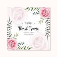 Aquarelle Floral Rose Fleurs Cadre Multipurpose Fond vecteur