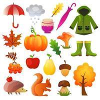 collection de jeu d'automne icône vector