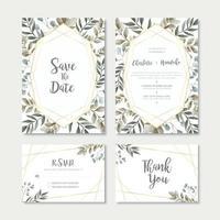 Set de modèles de cartes d'invitation de mariage de feuilles d'aquarelle vecteur