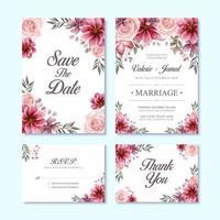 Ensemble de cartes d'invitation de mariage de luxe avec une décoration de fleurs à l'aquarelle rouge vecteur