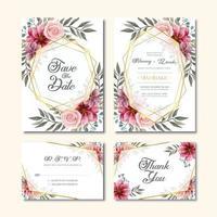 Carte d'invitation de mariage vintage avec décoration florale aquarelle vecteur