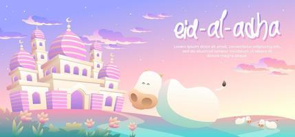 Eid Al Adha avec des vaches heureuses dans l'après-midi