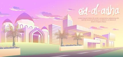 Eid Al Adha Dans La Ville vecteur