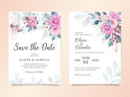 Modèle de carte d'invitation de mariage floral aquarelle géométrique vecteur