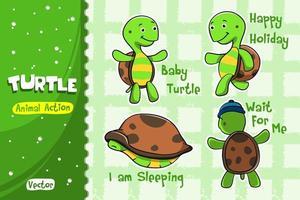 Jeu de dessin animé de tortue. Conception de vecteur d'action animale