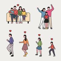 contour style heureux famille jeu de caractères. vecteur