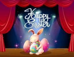 Bonne carte de Pâques avec lapin et œufs sur scène