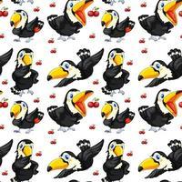 Toucan sans couture et cerises rouges