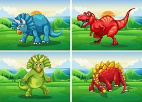Quatre dinosaures debout dans le champ