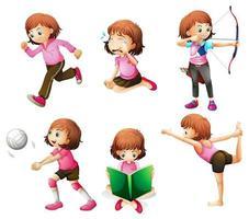 Différentes activités d'une petite dame