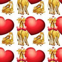Girafes sans couture avec coeurs géants vecteur