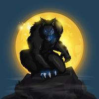 Loup-garou et pleine lune vecteur