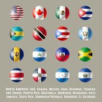 Drapeaux ronds d'Amérique du Nord