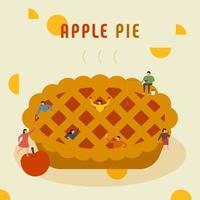 Les petites personnes font une énorme tarte aux pommes vecteur