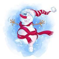 Bonhomme de neige joyeux dessin animé vecteur