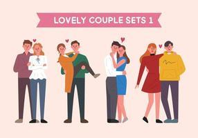 Ensemble de caractères de couple dans diverses poses.