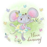 Mignonne ballerine de souris danse. J'aime danser. Une inscription vecteur