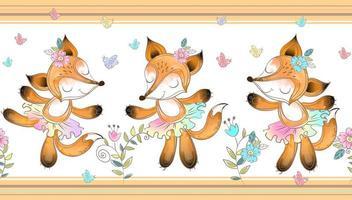 Frontière transparente. Ballerine de renards dansant à l'aquarelle vecteur
