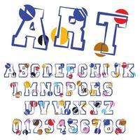 Modèle de police alphabet circulaire vecteur