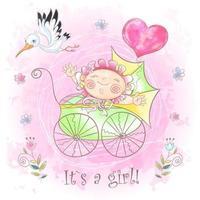 Petite fille dans la poussette Je suis né. Douche de bébé. Aquarelle