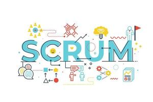 Scrum word lettrage illustration vecteur