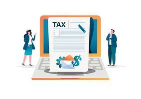 Concept de paiement de taxe en ligne vecteur