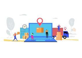 Concept de service de livraison en ligne vecteur