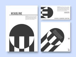 Ensemble de modèles de produits imprimés. Fond de conception géométrique minimale
