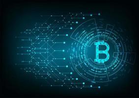 Logo de bitcoin abstrait argent numérique futuriste