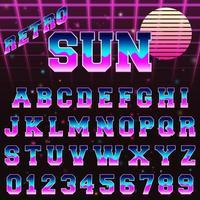 Modèle de police alphabet rétro des années 80