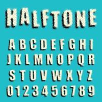Modèle de demi-teintes en pointillés de polices alphabet vecteur