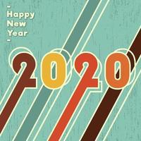Fond 2020 bonne année, dessin vectoriel vintage
