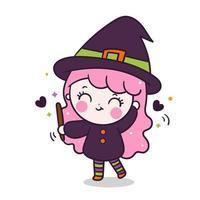 Jolie fille halloween avec une astuce ou un festin de dessin animé de sorcière kawaii vecteur